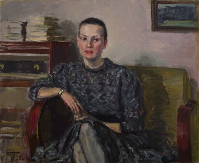 "Chainikov, Grigory L. ""The Portrait of the Woman (Luba)"" 19¾"" x 23½"" (50 x 60 cm) 1992, Oil on Canvas"