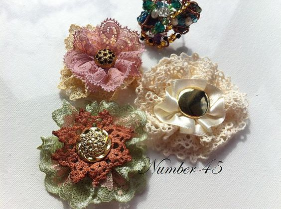Chic ShabbyNess Lace Flowers 4 Hats Facinators by Number45 on Etsy, $8.00
