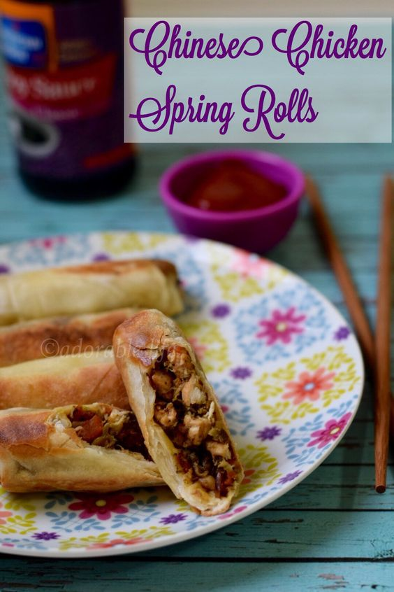 Chinese style Chicken spring roll with broccoli