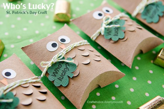 St. Patrick's Day craft. Adorable owl pillow boxes! Fill with gold candies. Who's lucky?: