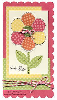 "CTMH Dotty for You paper & Just for You stamp set ""Hello"" card by Jody Gustafson"