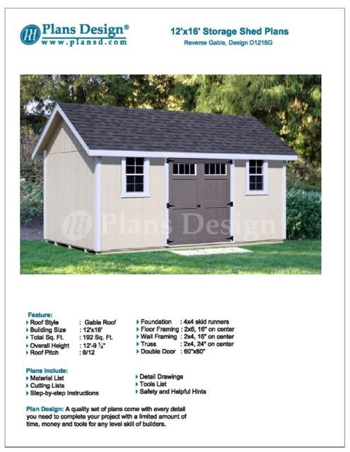 Project Plans For 12 X 16 Shed Reverse Gable Roof Style Design D1216g Roof Styles Building A Shed Shed Plans