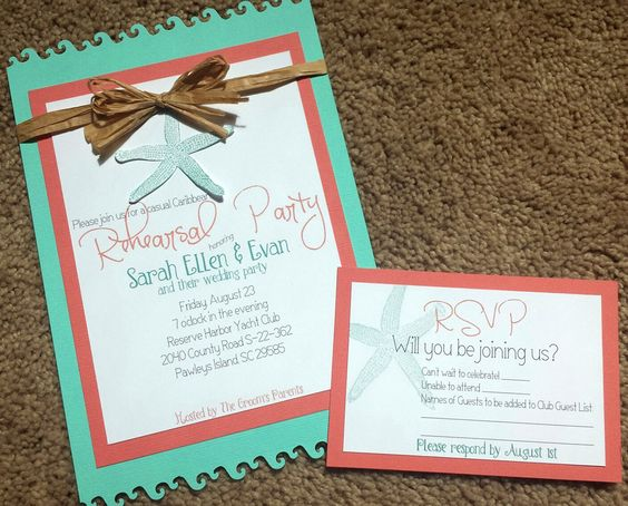 Rehearsal Dinner invites for my brother's wedding in Litchfield Beach SC:)
