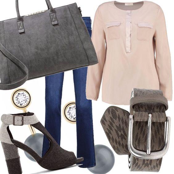 Un outfit particolare, con un sandalo aperto in feltro per le belle giornate autunnali. Il jeans con fondo largo e la camicetta color nude ci regalano eleganza e praticità. Il tutto impreziosito dalla splendida borsa a mano e dagli splendidi orecchini con perla grigia.