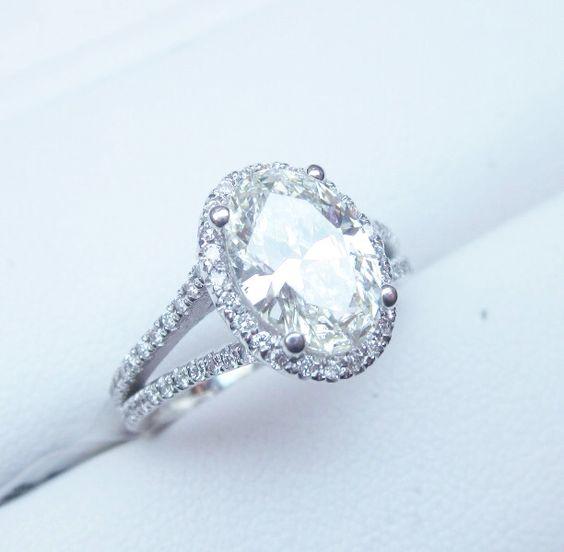 Oval Diamond Engagement Ring Halo Split Shank 2 carat