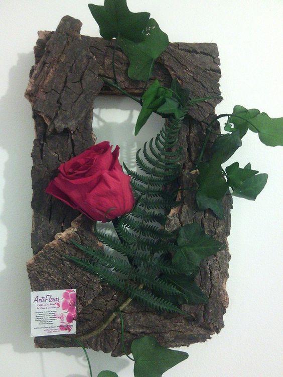 cadre suspendre bois corce et rose naturelle stabilis e cadres et tableaux v g taux. Black Bedroom Furniture Sets. Home Design Ideas