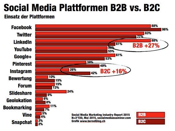 social media plattformen 2015 b2b b2c