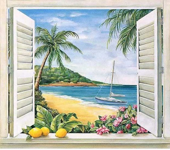 View from your bed beautiful beaches and pictures for Beach mural painting