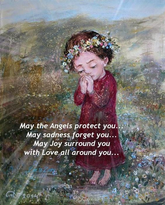 ANGELS PROTECT Print, Magnet or Greeting Card by Nino Chakvetadze .,,,Card and Magnet Combo for savings ..perfect gift sets