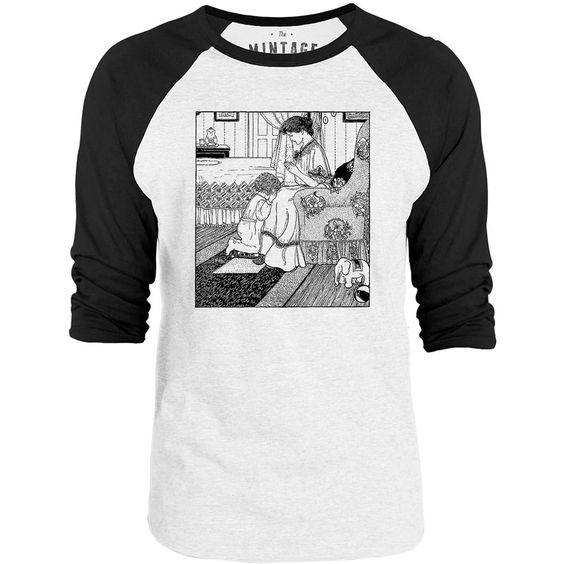 Mintage Praying Mother and Child 3/4-Sleeve Raglan Baseball T-Shirt (White / Black)