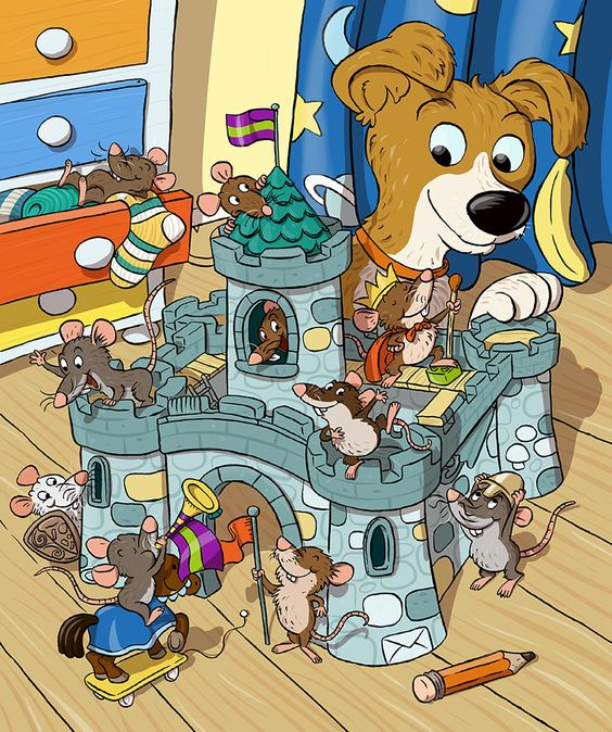 Mice Toy Castle!  - Nuno Alexandre Vieira #mice #mouse #cute #animals #toy #castle #play #pretend #makebelieve #dog #puppy #childrensbook #comic #illustration #kidlit #kidlitart #kidlitartist #kidsbooks #booksforkids #raiseareader #sharestories #books #read #teaching #resources #learning #teacher #art #illustrator #nunoalexandrevieira