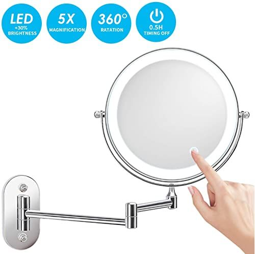 Best Seller Alvorog Wall Mounted Makeup Mirror 8 Inches Led Touch