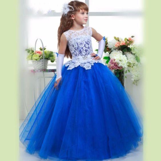 Neu Spitze Blumenmädchen Kleid Mädchen Kommunionkleid Ballkleid Prinzessin Kleid