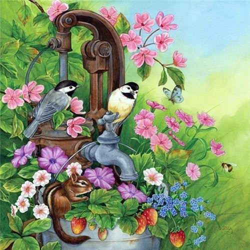 Twin Birds Flowers Diamond Painting Kit Dazzlecrafter Bird Art Beautiful Birds Birds Painting
