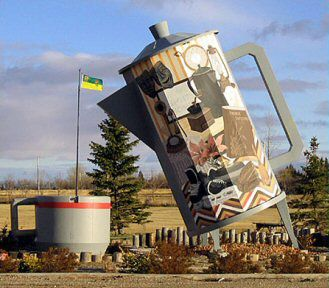 The Coffee Pot in Davidson, Saskatchewan celebrates the heritage of the town, community spirit in rural life.
