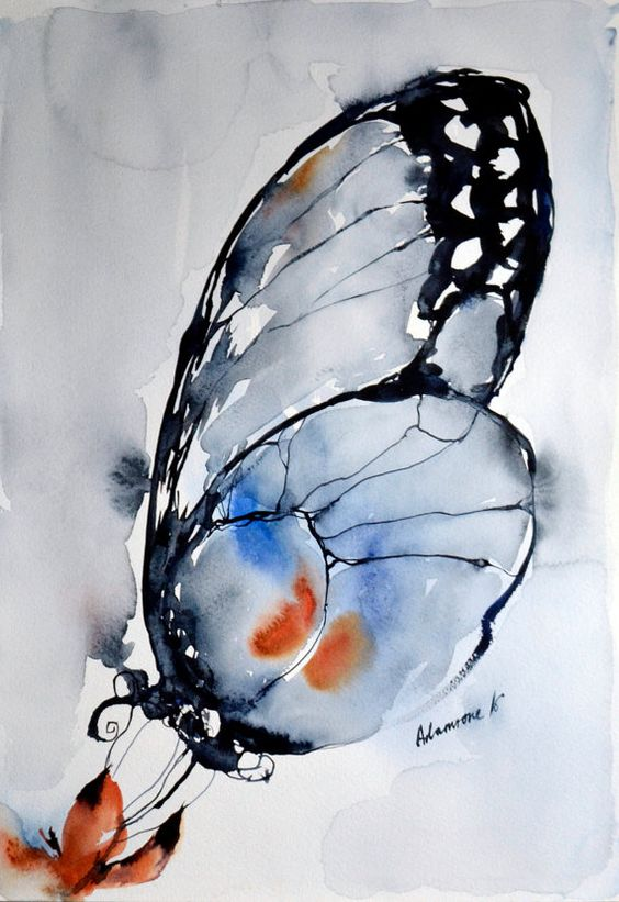 Watercolor blue butterfly original painting. by AlisaAdamsoneArt: