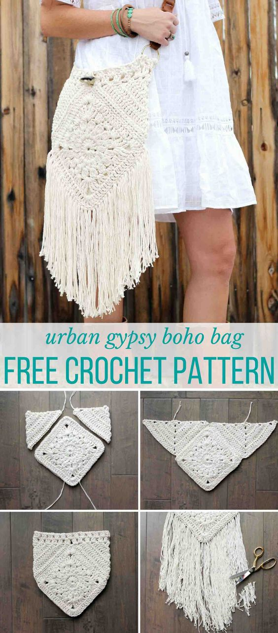 "Hello boho! With interesting construction and tons of texture, ""Urban Gypsy"" boho bag free crochet pattern is loaded with bohemian charm!:"
