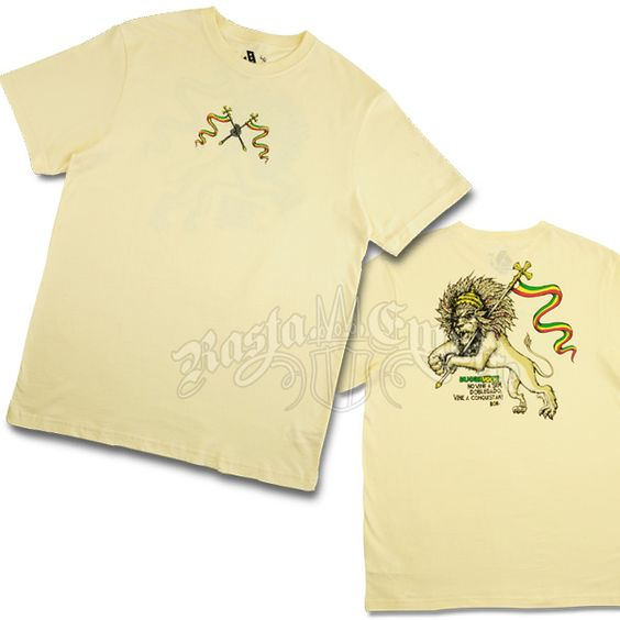 Lion of Judah, Flags and Swords Cream T-Shirt - Men's