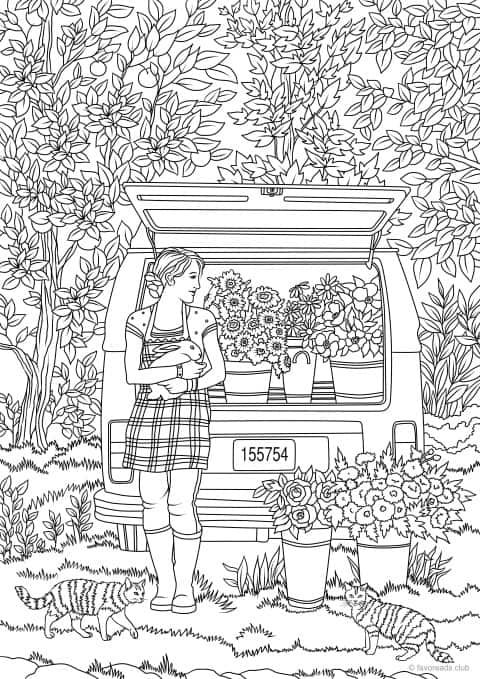 Farmer S Market Printable Adult Coloring Page From Favoreads