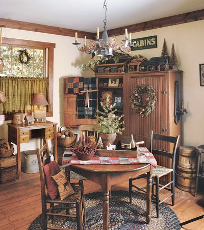 Dining rooms country sampler and primitives on pinterest for Primitive dining room ideas