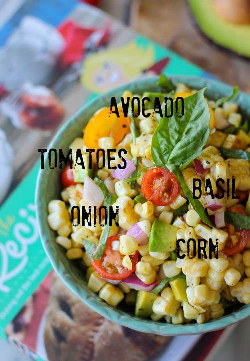 Grilled corn salad loaded with fresh cherry tomatoes, avocado & basil leaves on Damn Delicious from the @RecipeGirl {recipegirl.com} {recipegirl.com} cookbook