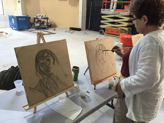 """Painting fresco of the same image side by side at the same time, put up an unexpected challenge, but helps to stop the """"neat picking"""" :) #fresco #buonfresco #frescopainting #frescoschool #frescoworkshop #frescotechnique #iliafresco #verdaccio"""