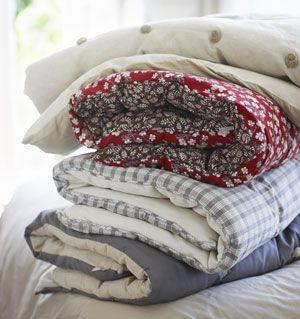 Edredon moletonné en coton, soie et lin bicolore Cologne Linum