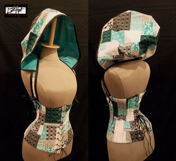 Sweet Sally - Custom Size - Patchwork design Under-Bust Corset and Add-A-Hood - by LoriAnn. $184.99, via Etsy.