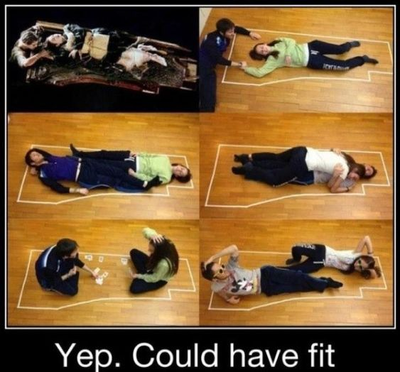 Titanic - They both could have fit! Poor Jack lol.