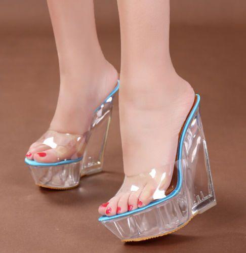 Ladies Women/'s High Platform Wedge Heel Peep Toe Slip On Flip Flops Sandal Shoes