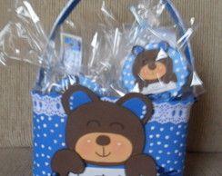 Pote decorado com lembrancinha ursinho