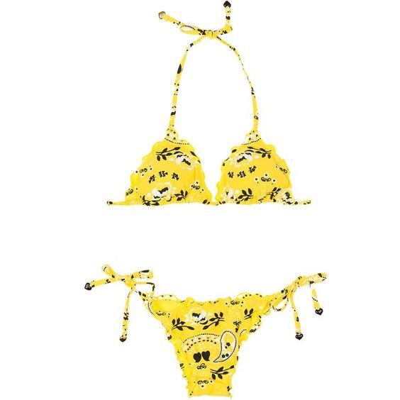 Salinas Women's swimwear Brazilian Bikini - Bandana Yellow (8.625 RUB) ❤ liked on Polyvore featuring swimwear, bikinis, yellow, triangle swim wear, brazilian cut bikini, salinas bikini, brazilian bikini and yellow bikini