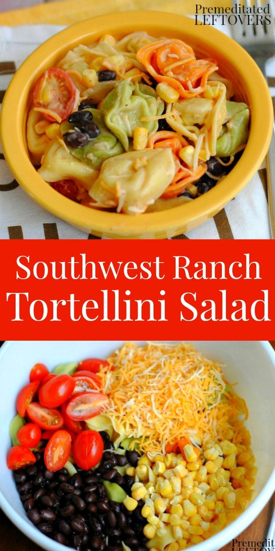 Southwest Ranch Tortellini Salad Recipe- This cold tortellini salad is a quick and easy meatless meal. The southwest flavors are so delicious!