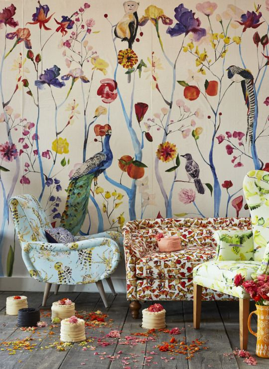 Anthropologie wallpapers and entertaining on pinterest for Anthropologie mural