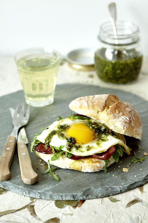Add European flair to the breakfast sandwich. Fried egg, chorizo, sage pesto on ciabatta bun.