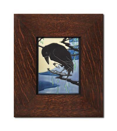 Yoshiko Yamamoto Raven 6x8 Tile, Motawi Tileworks, Mission Tiles