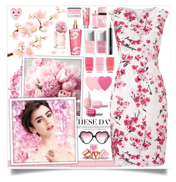 """""""Cherry Blossoms"""" by angelstylee ❤ liked on Polyvore featuring Precis Petite, Victoria's Secret, Christian Dior, Nails Inc., Tommy Hilfiger, Prada, Sephora Collection, Clinique, Pink and cherry"""