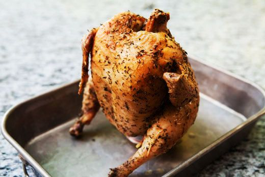 Beer can chicken (also known as beer butt chicken).