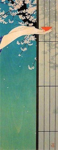Hana ikkon (Une coupe en admirant les fleurs), woodblock print by Tsuzen Nakajima (Japanese)