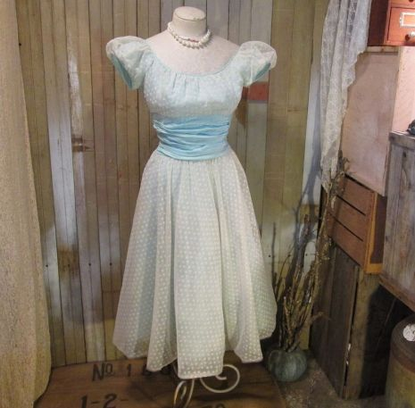 vintage 50s  Sweetheart White sheer Dress Alice Blue satin flocked party frock S
