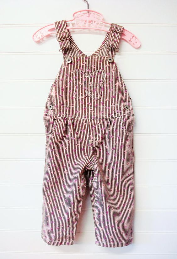 Vintage Baby Clothes Baby Girl Overalls Brown and White