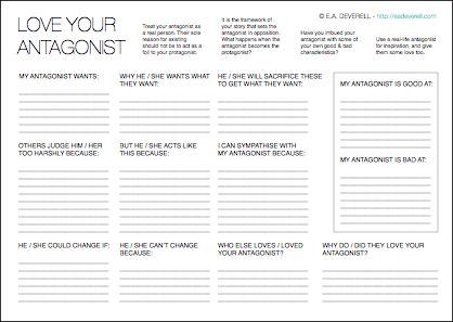 Love Your Antagonist (Writing Worksheet Wednesday) | Writing ...