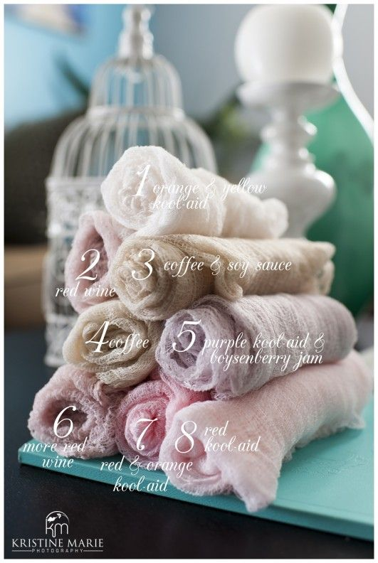 How to Dye Cheesecloth Wraps for Newborn Photography   San Diego Newborn Photographer  (c) Kristine Marie Photography