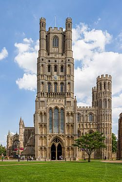 The main entrance of Ely Cathedral, Cambridgeshire, England. The present building dates back to 1083, and cathedral status was granted in 1109.