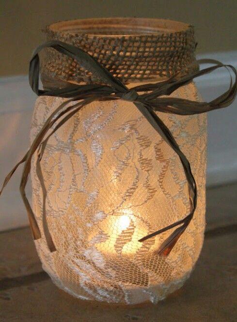 DIY: wrap lace around a jar