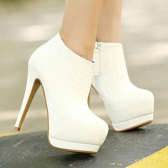 White Pu Snake Skin Platform Heel Booties | Platform boots, Heel ...