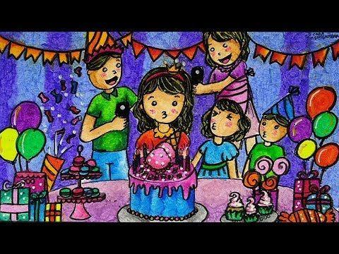 Cara Menggambar Dan Mewarnai Tema Pesta Ulang Tahun Anak