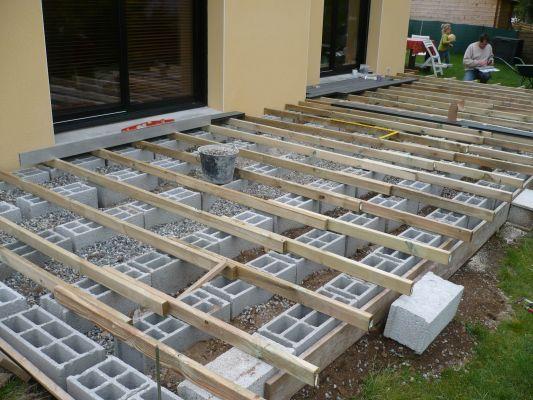 Terrasse en bois sur parpaings de 8m par 4m terrasse Pinterest