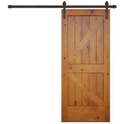 Pacific Entries 36 in. x84 in. Rustic Prefinished 2-Panel V-Groove Left Knotty Alder Wood Barn Door with Bronze Sliding Door Hardware-GA3242LS-36-10B - The Home Depot