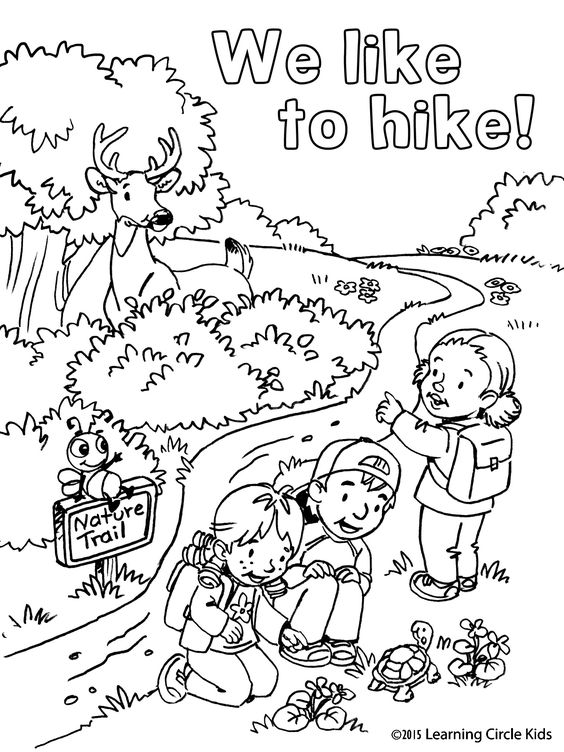 coloring page summer fun hiking with reader bee and friends free